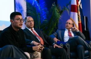 Nicaraguan student opposition leader discusses political crisis with faculty experts, calls for freedom for his homeland