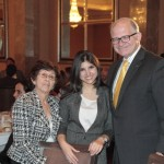 "Nursing student Laura Sanchez was among the Panthers at the luncheon who expressed a ""sincere gratitude on behalf of all FIU students who have been awarded the First Generation Scholarship."" Sanchez grew up with her grandmother Joaquina Alonso, who said she was proud of her grandaughter – and that she thought it was ""wonderful that FIU supports its students with opportunities such as First Gen."" Here, they are joined by FIU President Mark B. Rosenberg. Photo: Roldan Torres '85."