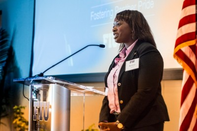 Kenya Adeola overcame significant challenges early in life and is now a student leader in the Fostering Panther Pride program.