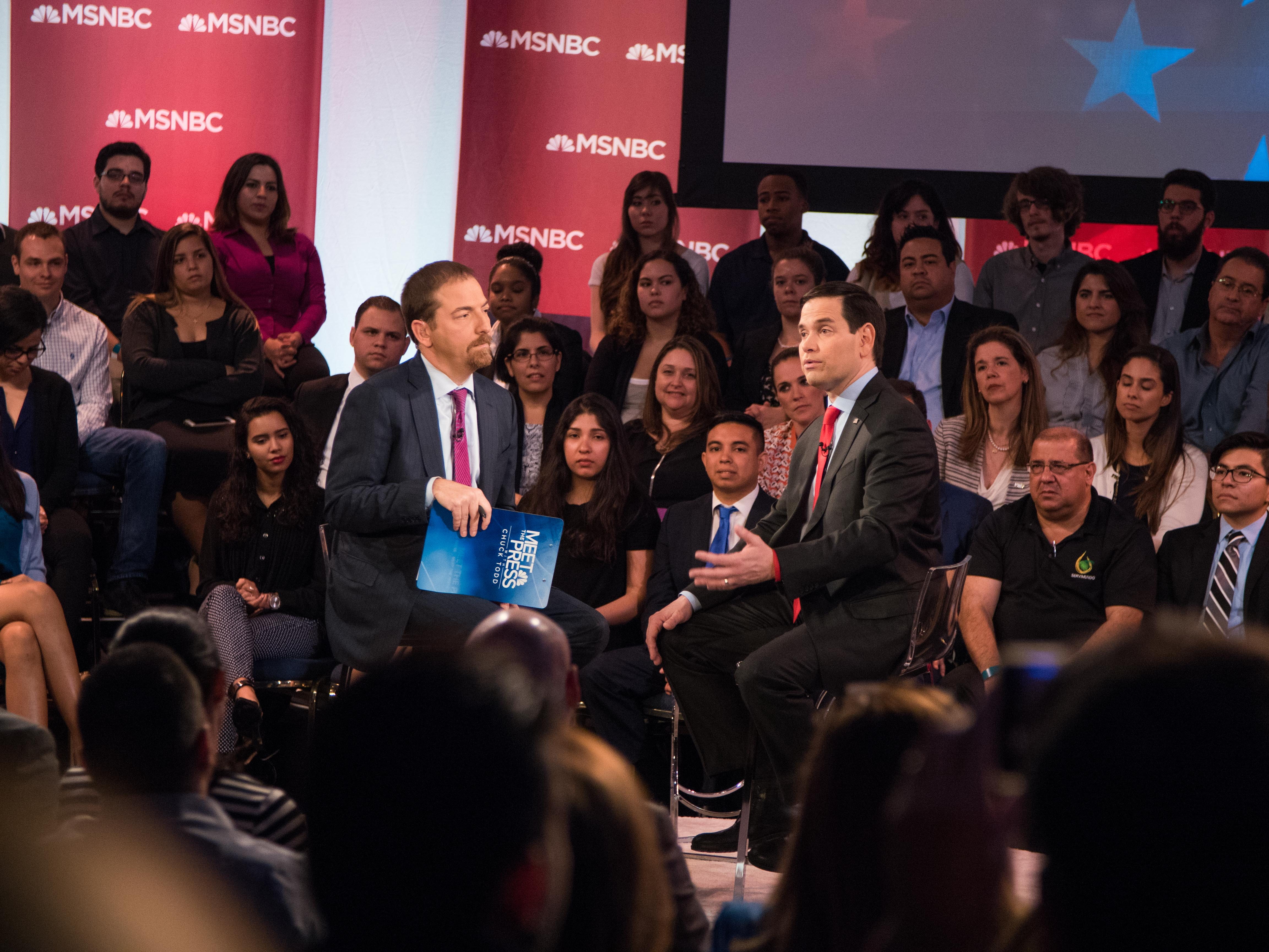 Meet the Press moderator Chuck Todd and Republican presidential candidate Marco Rubio participate in an MSNBC town hall on Modesto Maidique Campus March 9.