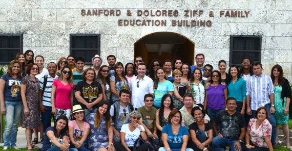 PDPI students from Brazil in front of the Ziff Education Building, where they take classes for pedagogy.