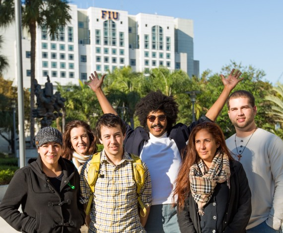 Traveling to Papua New Guinea will be, from left, graduate student Sabrina Diz, FIU Magazine Editor Deborah O'Neil, Honors College student Pablo Currea, biology major Keysel Pelaez, education graduate student Olivia Autolino and religious studies major Kyle Decker.