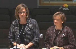 Panther LIFE Director Diana M. Valle-Riestra and College of Education Dean Delia C. Garcia address the Florida Senate Higher Education Committee in support of Panther LIFE and postsecondary transition programs.