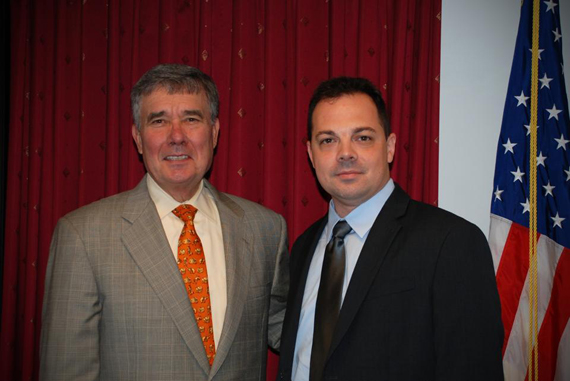 "Peter Bannon (right) poses with ""Drug Czar"" Gil Kerlikowske, director of National Drug Control Policy."