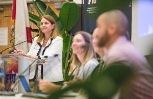 FIU researchers, including Rene Price, led talks on the environmental challenges to Biscayne Bay.