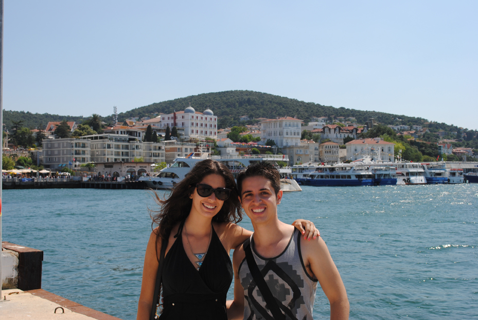 Claudia Balzan (left) and Giovanni Bruna (right) soak up the sun in the Prince Islands off the coast of Turkey.