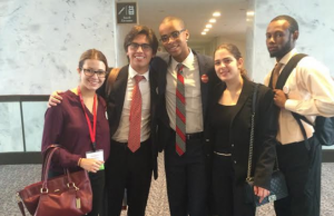 FIU RESULTS fellows in Washington D.C. during the RESULTS International Conference. The day the photo was taken, the students were meeting with various South Florida representatives and their legislative aides. From left to right: Stephanie Martinez, Jose Sirven, Luc Pierre-Louis, Andrea Toledano, Ameer Cuffe.