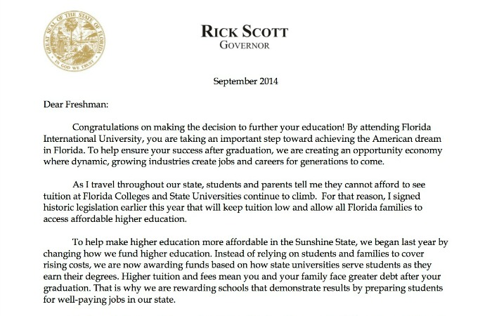 Letter to freshmen from Gov. Rick Scott