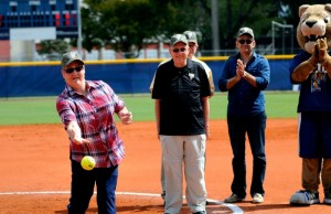 Felsberg's mother throws the first pitch. Photo by Alex Hernandez.