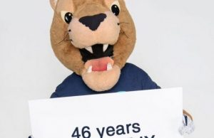 Roary holding sign of Title IX