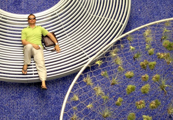 Roberto Rovira lounging at the Sky Lounge in the DM courtyard, a project he helped redisgn. (Photo courtesy of Alejandro Rovira)