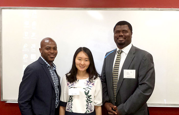 Debaro Huyler, Wei Ding and Adly Norelus, doctoral students in the College of Education, delivered a presentation at the South Florida Education Research Conference on how companies must adapt to millennials entering the workforce.
