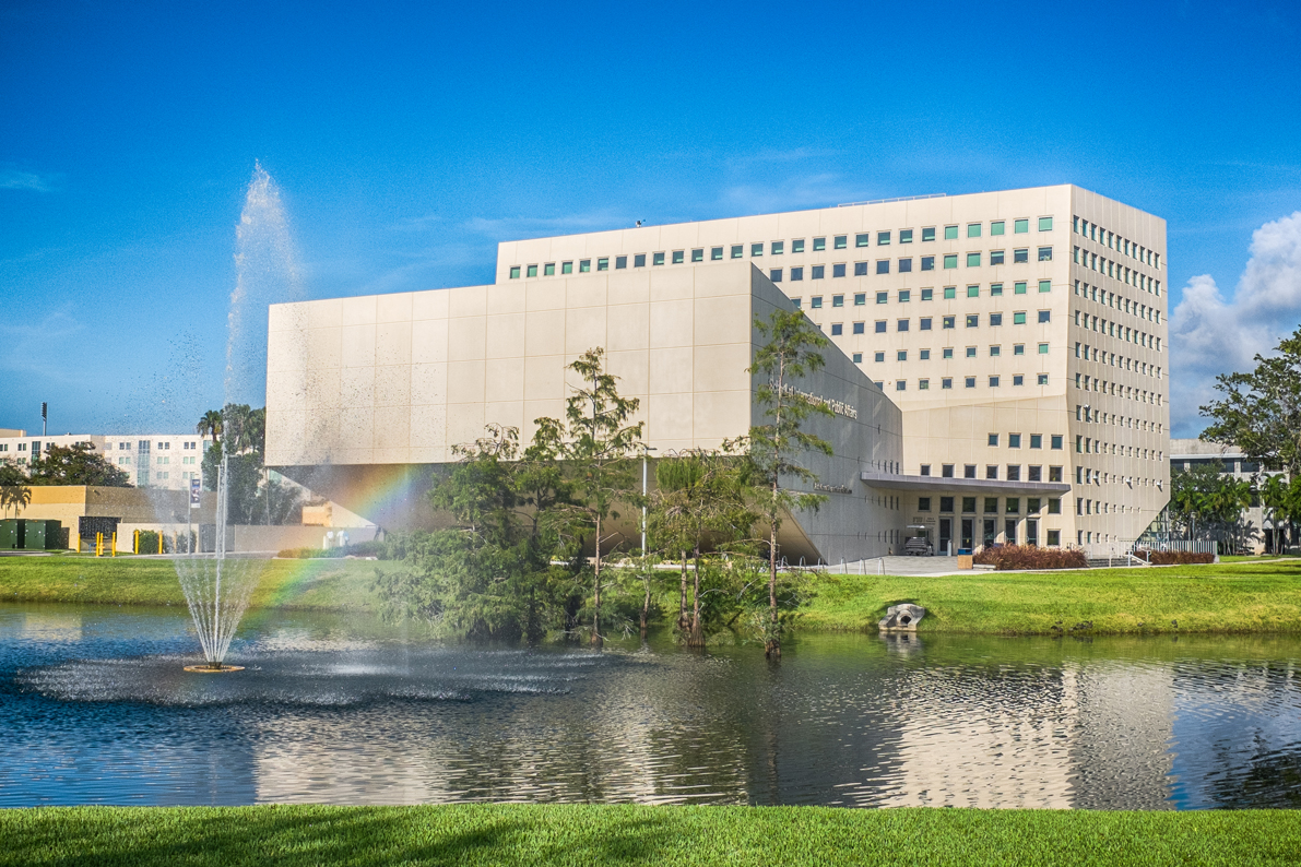 The School of International and Public Affairs building boasts South Florida's largest green roof and and photovoltaic solar panels.