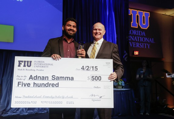 Adnan Samma, senior economics and international relations major, took home the Presidential Award, for his academic and charitable accomplishments around the globe and in Miami.
