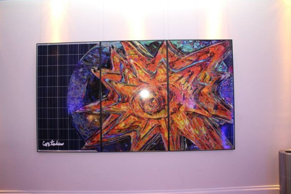 "Cortada's ""SOLAR,"" digital art on three solar panels"