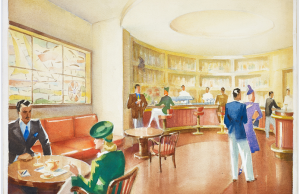 Design drawings, Interiors for an ocean liner's bar and lounge area, 1932–35 Antonio Quaiatti (1904–1992) Trieste Watercolor and graphite on paper The Wolfsonian–FIU, The Mitchell Wolfson, Jr. Collection, XX1990.3603–4