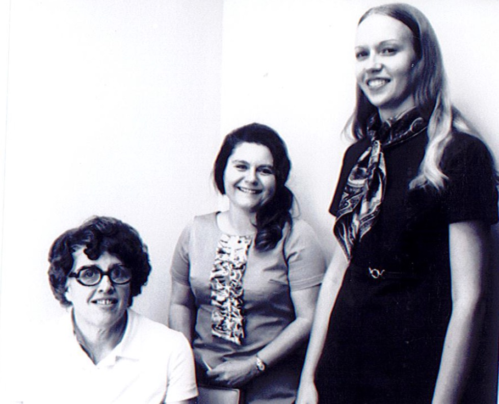 Dietetics and Nutrition faculty 1972-73. From left to right: Penelope Easton Kupsinel, Katharine Curry, and Michele Ciccazzo.