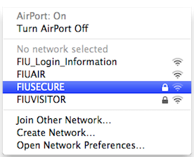 Select FIUSECURE from the list of wireless networks available on your computer.