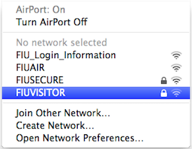 Select FIUVISITOR from the list of wireless networks available on your computer.