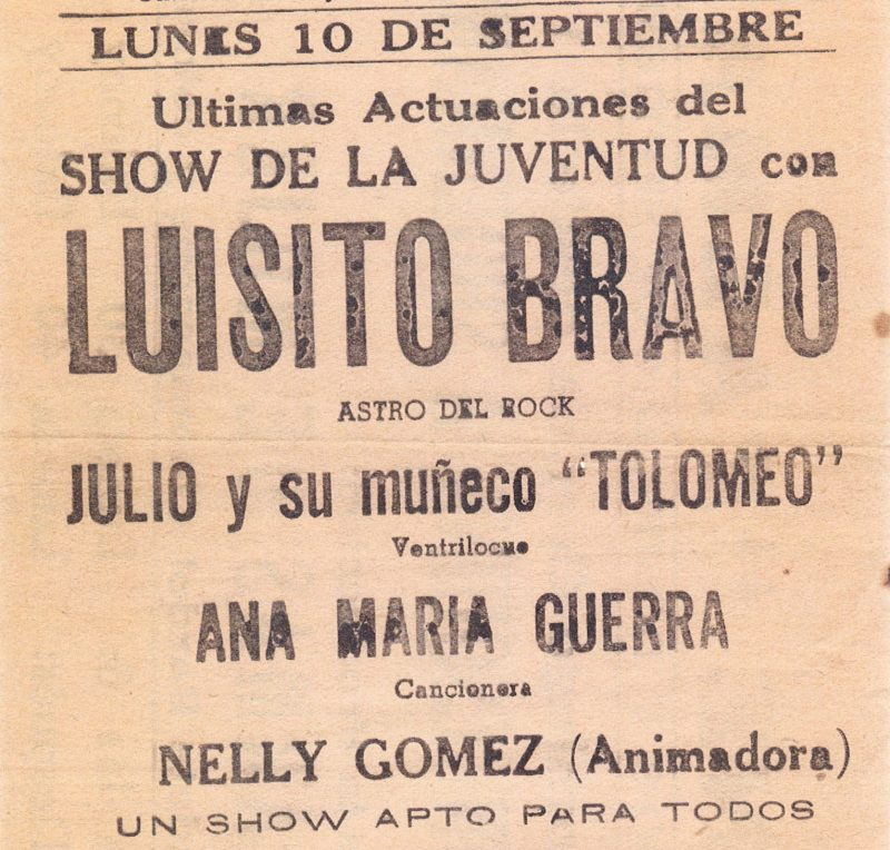 A photocopy of a flyer for several shows in Cuba, including Jose Gracia and his doll, Tolomeo.