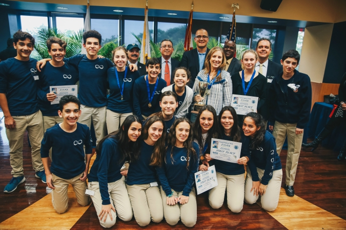 Middle school students from St. Hugh, after winning first place in the South Florida Future City Competition.