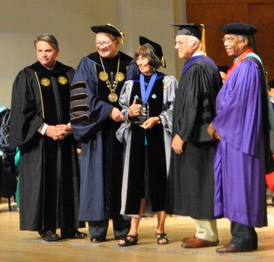 Professor Judith Stiehm (center) receives the President's Council Worlds Ahead Faculty Award.