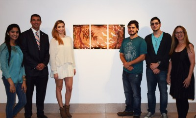 From left to right: Ifrah Waheed, Alex Mantecon, Alex Brown, Andres Sola, Abel Suarez,and Professor Gretchen Scharnagl