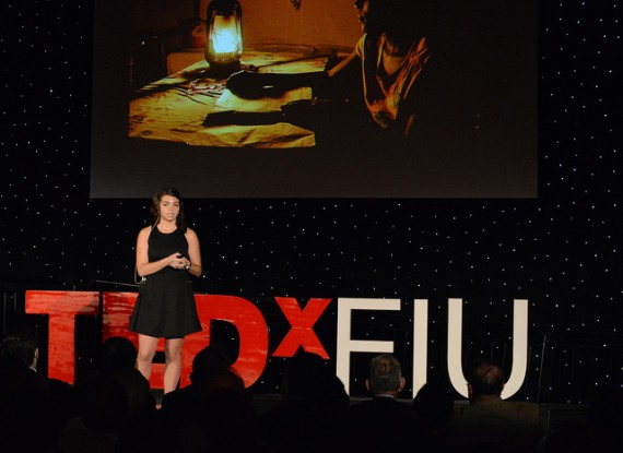 FIU student Ximena Prugue received a standing ovation after her 2012 TEDxFIU talk on energy consumption.