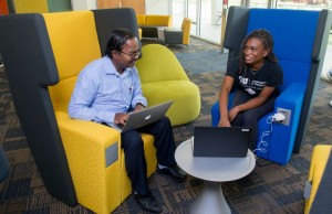 "Cushioned chairs in Tech Station's ""Florida Room"" allow for privacy and collaboration."