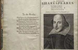 Title page of the First Folio. Photo courtesy of the Folger Shakespeare Library.