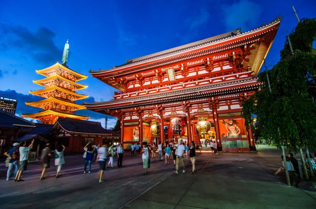 Above, the Sensoji Temple in Tokyo's Asakusa district. It is the oldest temple in Tokyo. Institute participants will study the avant-garde and arts counterculture of Asakusa and Shinjuku, one of the 23 city wards of Tokyo.