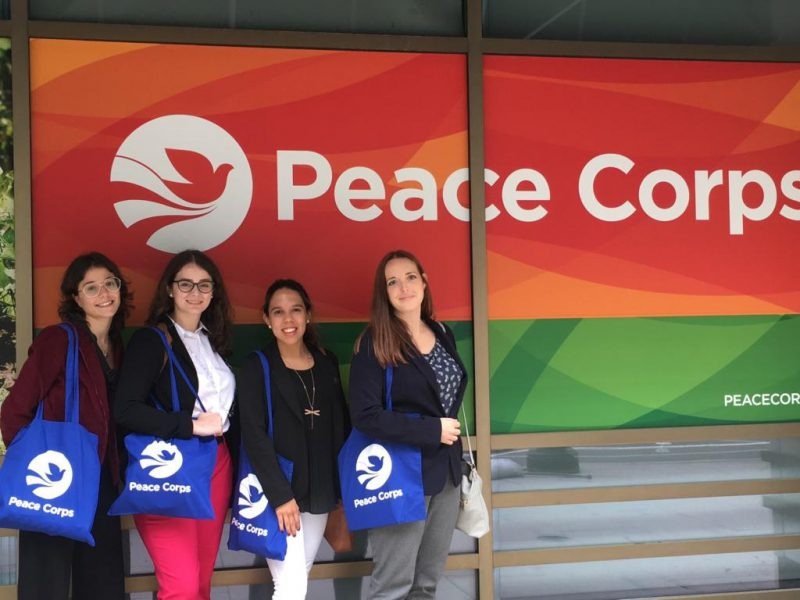 Transformation Contest winners (from left to right) Sabrina Diaz, Melanie Rodriguez, Alejandra Marquez Janse, Ashley Ruttenberg visited the Peace Corps.