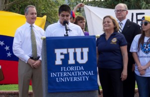 Congressman Mario Diaz Balart , congresswoman Ileana Ros-Lehtinen and FIU President Mark Rosenberg at the Venezuela rally at FIU.