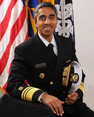 """""""Vice Admiral Vivek H. Murthy, USPHS"""" by United States Department of Health and Human Services - http://www.surgeongeneral.gov/images/vadm-murthy.jpghttp://www.surgeongeneral.gov/about/biographies/biosg.html. Licensed under Public Domain via Wikimedia Commons - http://commons.wikimedia.org/wiki/File:Vice_Admiral_Vivek_H._Murthy,_USPHS.jpg#/media/File:Vice_Admiral_Vivek_H._Murthy,_USPHS.jpg"""