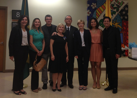 Augusta Vono (center), poses with Ambassador Helio Vitor Ramos Filho and  FIU professors of Portuguese received the Order of Rio Branco awards.