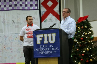 Gary Santos, co-chair of the World AIDS Day committee, stands with Glen Weinzimer, keynote speaker.