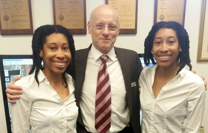 Shalisha and Shonda with Dr. Rishe, who heads the High Performance Database Research Center