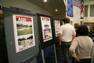Approximately 300 students, faculty and staff attended World AIDS Day at BBC. These informational panels gave more information about the The Names Project AIDS Memorial Quilt and national HIV/AIDS statistics.
