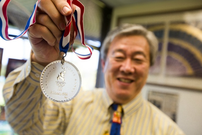 Zhao with medal