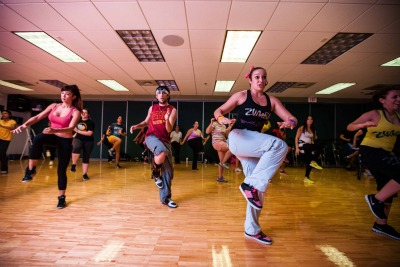 A zumba fitness class at the Florida International University Recreation Center