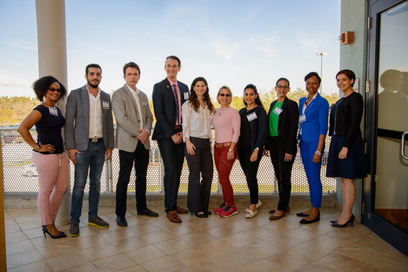 Michelle Thompson, Wissam Al Khoury, Alexander Rodichikin, Angel Algarin, Alicia Sneij, Janet Diaz-Martinez, Alhanoof Alohaly, Daisy Ramirez-Ortiz, Olatokunbo Osibogun and Mitra Naseh compete in Stempel College Research Day's 3M Competition.