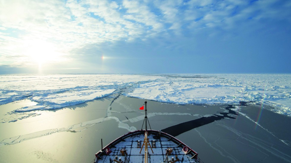 An optical phenomenon known as a sun dog or halo, which is produced by light interacting with suspended ice crystals in the atmosphere, appears off Coast Guard Cutter Healy's port bow at the North Pole Sept. 5, 2015. Healy is underway in the Arctic Ocean in support of the National Science Foundation-funded Arctic GEOTRACES, part of an international effort to study the distribution of trace elements in the world's oceans. (U.S. Coast Guard photo by Petty Officer 2nd Class Cory J. Mendenhall)