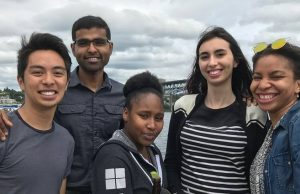 Giuliana Avogadro (striped shirt) surrounded by other Microsoft interns and company mentors.
