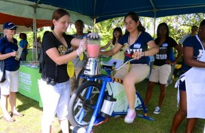 Students demonstrated their blender bikes to the public at SOBEWFF's Fun and Fit as a Family event.