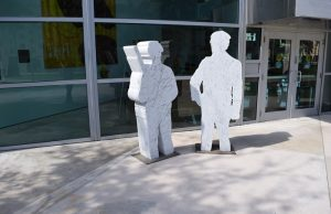 The sculpture by Daniel Joseph Martinez at the entrance of the Frost Art Museum FIU.