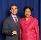 Ortiz with Pepsi CEO Indra Nooyi