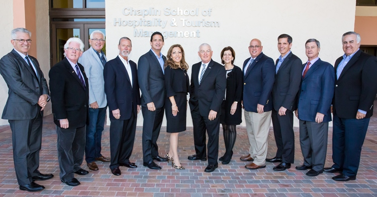Members of the inaugural Chaplin School Dean's Advisory Council include from left to right, John McKibbon, Bill Talbert, Eric Pfeffer, Duffy Keys, Phil Goldfarb, Lani Kane-Hanan, Mike Hampton, Wendy Kallergis, Paul Livieri, Ed Mugnani, Jay Litt and Burt Cabanas.