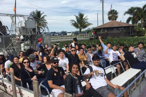 G1Y students tour the Everglades on an airboat