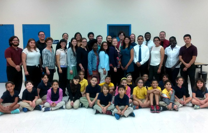 Music education students help teach third-grade music class at Carlos J. Finlay Elementary