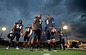 Behind the scenes with 'FIU Magazine' football photo shoot